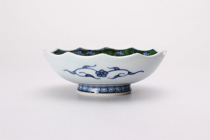 亮秀窯 緑彩唐草 12角皿 画像サブ1
