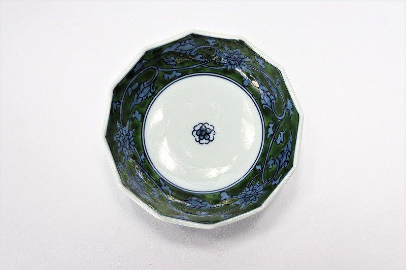 亮秀窯 緑彩唐草 12角皿 画像サブ2