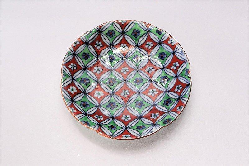 福泉窯 染錦花市松(赤・緑) 花びら型コーヒーC/S 在庫3個 画像サブ5