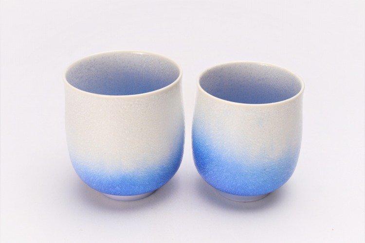 真右ェ門窯 藍染水滴 組湯呑(木箱付) 画像サブ1
