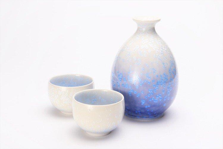 真右ェ門窯 藍染水滴 半酒器(木箱付) 画像サブ1