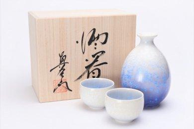 ☆真右ェ門窯 藍染水滴 半酒器(木箱付)