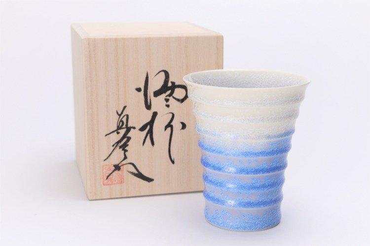 真右ェ門窯 藍染水滴 段付酒杯(木箱付) 画像メイン