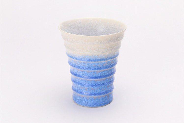 真右ェ門窯 藍染水滴 段付酒杯(木箱付) 画像サブ1