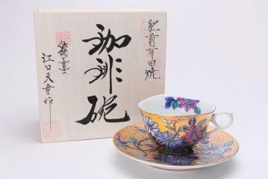 金龍窯 金彩鉄仙花 コーヒー碗(木箱付)