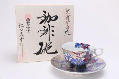 金龍窯 プラチナ鉄仙花 コーヒー碗(木箱付)