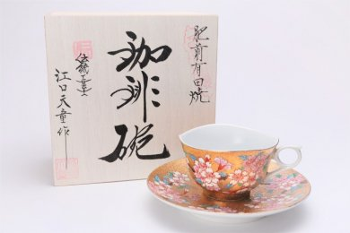 金龍窯 金彩桜 コーヒー碗(木箱付)