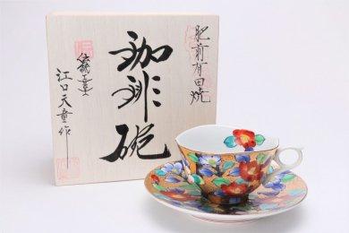 金龍窯 金彩椿 コーヒー碗(木箱付)