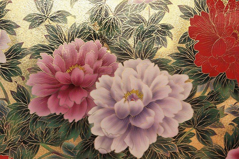 □金龍窯 金彩牡丹桜図陶額 画像サブ1