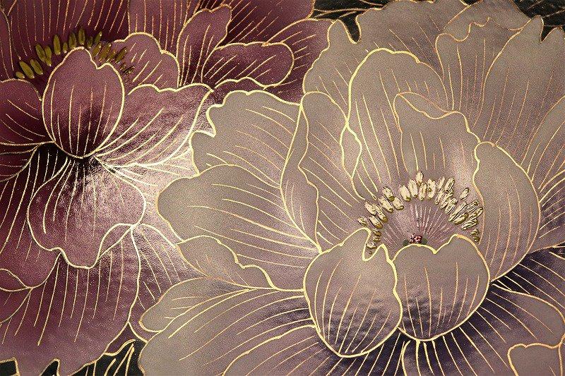 □金龍窯 金彩牡丹桜図陶額 画像サブ2