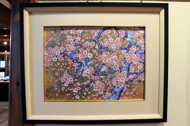 □金龍窯 金彩桜花鳥六ツ切陶額 画像メイン