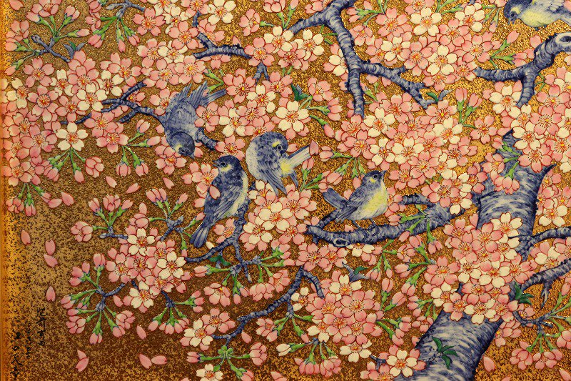 □金龍窯 金彩桜花鳥六ツ切陶額 画像サブ1