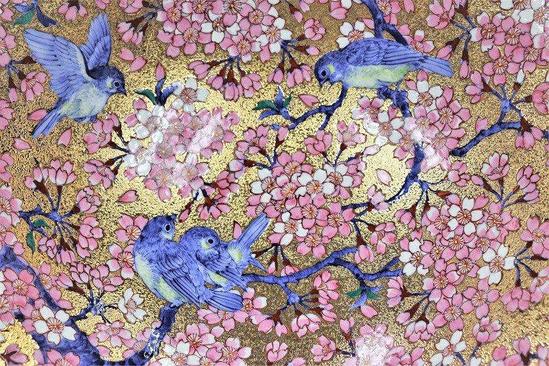 金龍窯作 金彩桜花鳥絵飾り鉢 画像サブ1