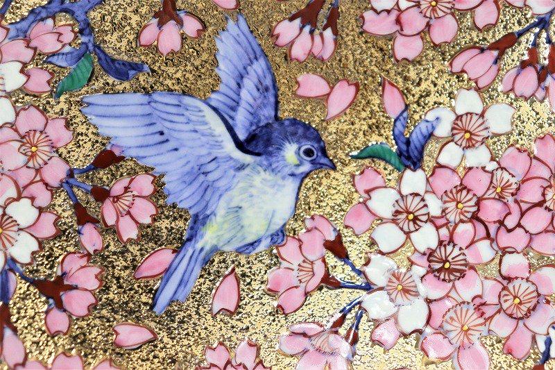 金龍窯作 金彩桜花鳥絵飾り鉢 画像サブ3