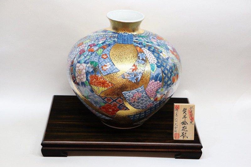 金龍窯 熨斗絵花瓶 画像メイン