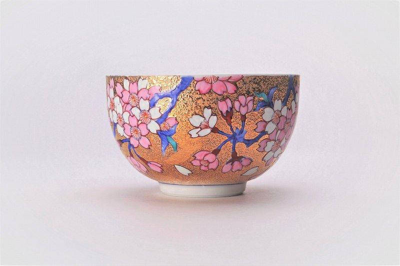 金龍窯 金彩桜 抹茶碗(木箱付) 画像サブ1