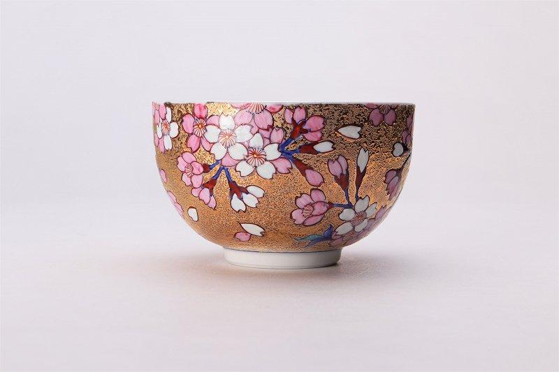 金龍窯 金彩桜 抹茶碗(木箱付) 画像サブ2