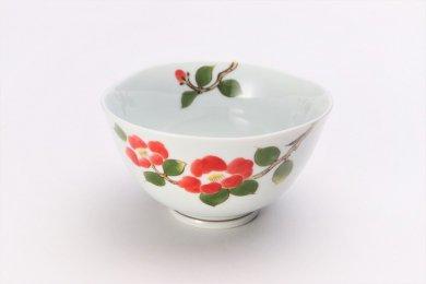 〇誕生花シリーズ 赤椿 茶碗 (1月誕生花)