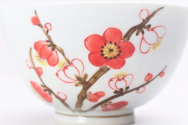 誕生花シリーズ 紅白梅 茶碗・湯呑セット (2月誕生花)(化粧箱入り) 画像サブ3