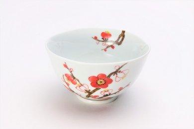 〇誕生花シリーズ 紅白梅 茶碗 (2月誕生花)