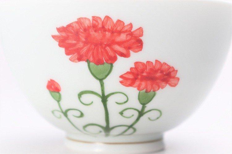 誕生花シリーズ カーネーション 茶碗・湯呑セット (5月誕生花)(化粧箱入り) 画像サブ3