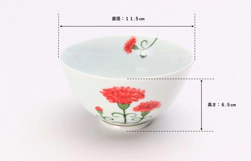 誕生花シリーズ カーネーション 茶碗・湯呑セット (5月誕生花)(化粧箱入り) 画像サブ6