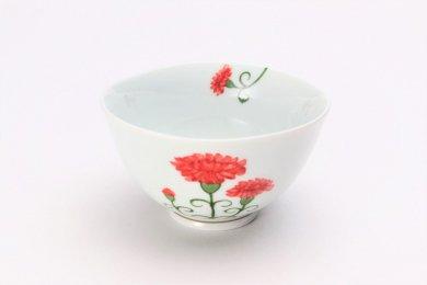 〇誕生花シリーズ カーネーション 茶碗 (5月誕生花)
