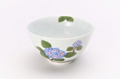 〇誕生花シリーズ アジサイ 茶碗 (6月誕生花)