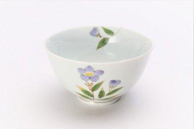 〇誕生花シリーズ 桔梗 茶碗 (8月誕生花)