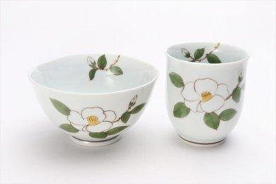 誕生花シリーズ 白サザンカ 茶碗・湯呑セット (12月誕生花)(化粧箱入り)