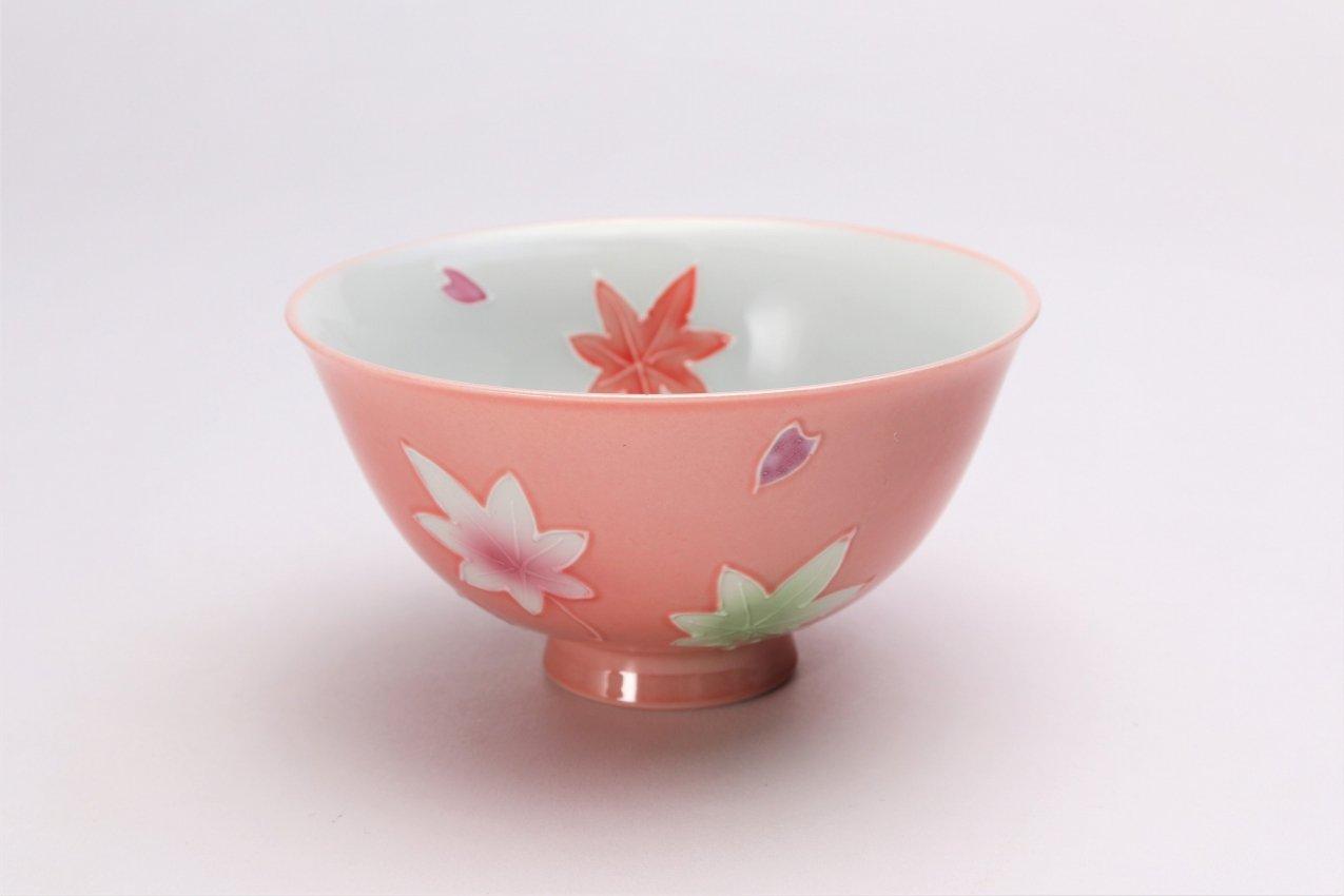 楽々シリーズ ピンク春秋 茶碗(中) (化粧箱入り)