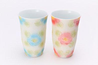 楽々シリーズ ラスター山茶花 ペアフリーカップ (化粧箱入り)