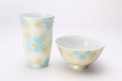 楽々シリーズ ラスター山茶花(青) 茶碗・フリーカップセット (化粧箱入り)