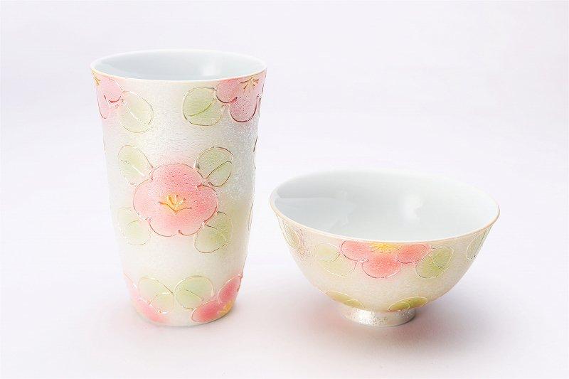 楽々シリーズ ラスター山茶花(赤) 茶碗・フリーカップセット (化粧箱入り) 画像メイン