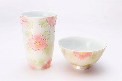 ☆楽々シリーズ ラスター山茶花(赤) 茶碗・フリーカップセット (化粧箱入り)