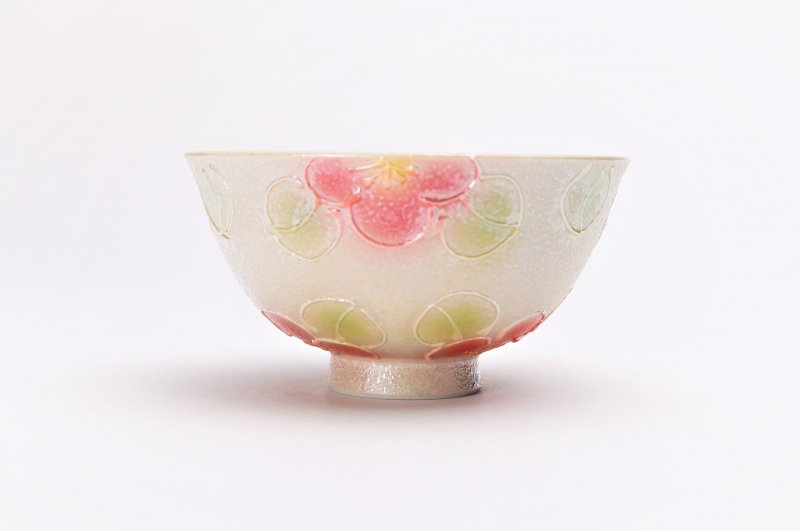 楽々シリーズ ラスター山茶花(赤) 茶碗(中) (化粧箱入り) 画像サブ1