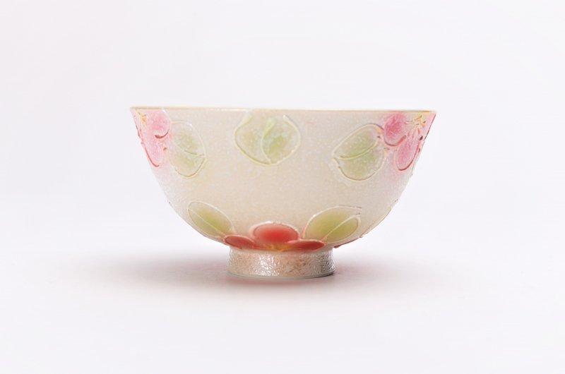 楽々シリーズ ラスター山茶花(赤) 茶碗(中) (化粧箱入り) 画像サブ2