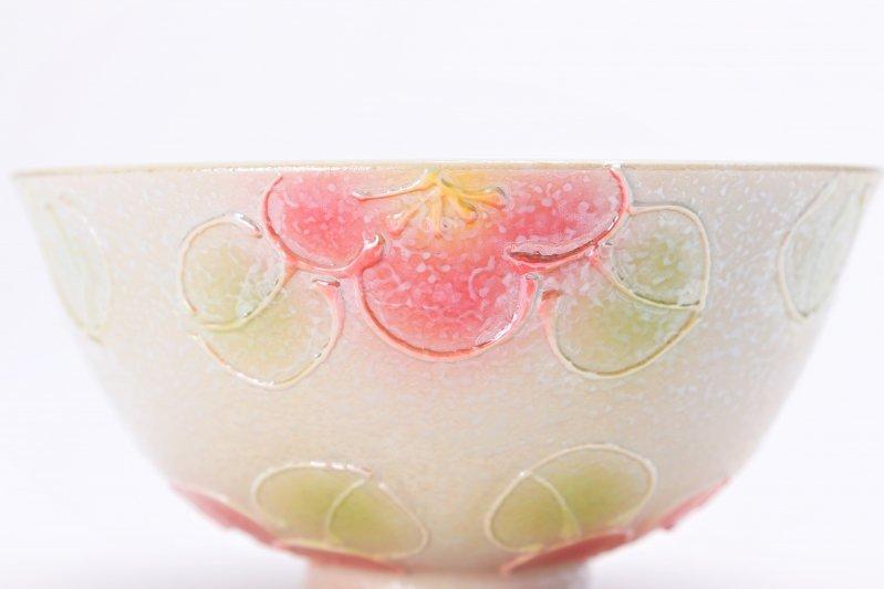 楽々シリーズ ラスター山茶花(赤) 茶碗(中) (化粧箱入り) 画像サブ3