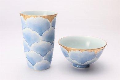 ☆楽々シリーズ 金牡丹 茶碗・フリーカップセット (化粧箱入り)