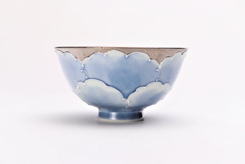 楽々シリーズ プラチナ牡丹 茶碗(中) (化粧箱入り) 画像サブ1