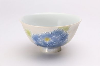 楽々シリーズ 青牡丹パールラスター 茶碗(大) (化粧箱入り)