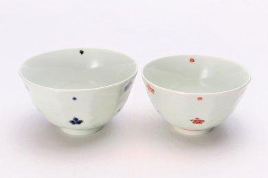 ☆そうた窯 染付小花紋面取茶付 ペア