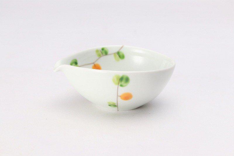 一峰窯 オリーブ(橙) 丸片口小付 画像メイン