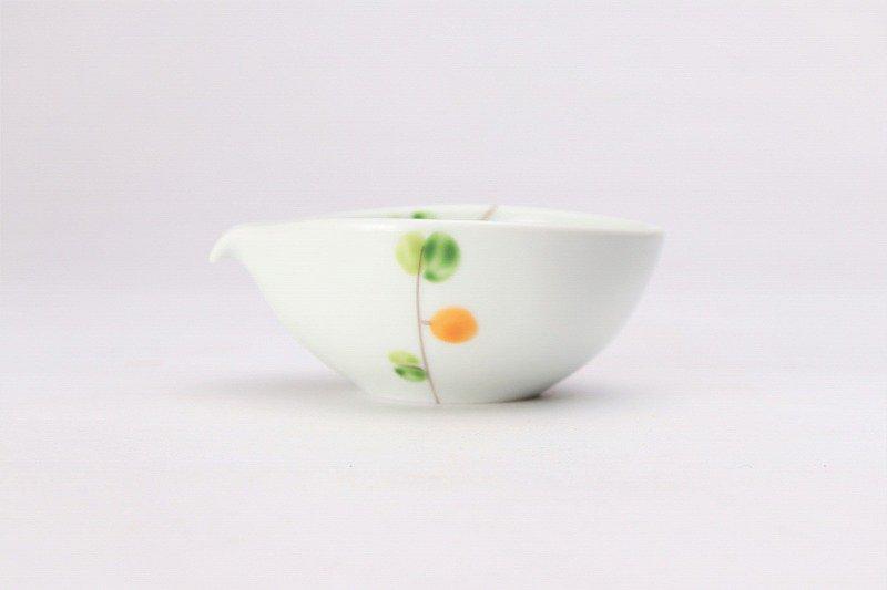 一峰窯 オリーブ(橙) 丸片口小付 画像サブ1