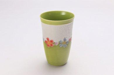 楽々シリーズ 黄緑釉花つなぎラスター フリーカップ (化粧箱入り)