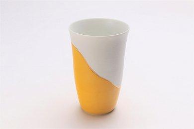 ☆楽々シリーズ 濃黄釉パール金線 フリーカップ (化粧箱入り) 在庫10個