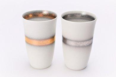 楽々シリーズ 白マット吹金帯・銀帯 ペアフリーカップ (化粧箱入り)