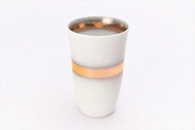 楽々シリーズ 白マット吹金帯 フリーカップ (化粧箱入り)