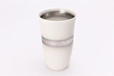 楽々シリーズ 白マット吹銀帯 フリーカップ (化粧箱入り)