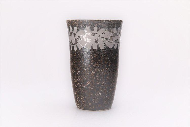 楽々シリーズ 黒マット吹銀唐草 フリーカップ (化粧箱入り) 画像サブ1